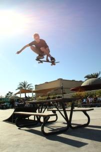 Skater Doulas Martin flying high at the springs skatepark in Dubai, UAE.