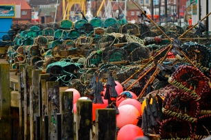 Fishermens colourful gear waiting to be used, Scarborough.