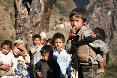 Young children in the mountain tribes, Nepal